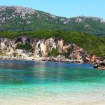Korfu, pláž Rovinia, Řecko
